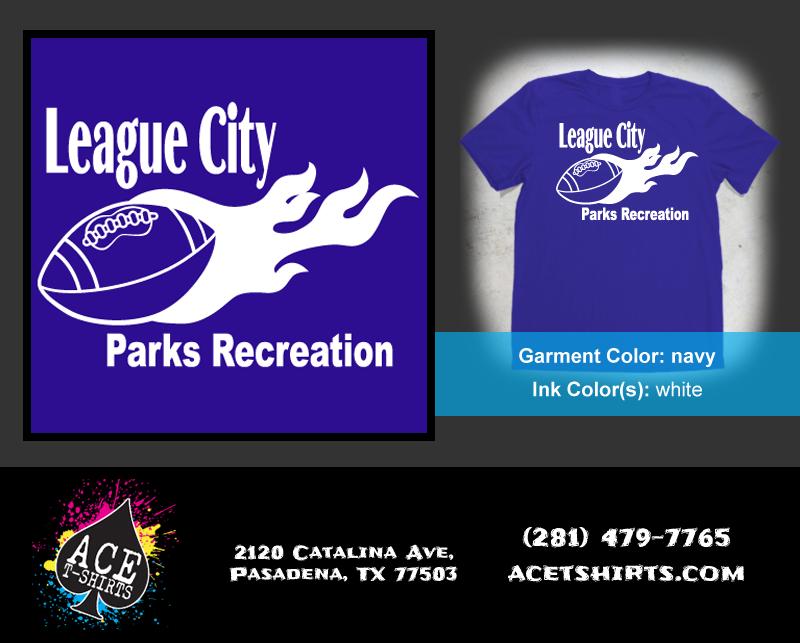 flag football tees for league city parks recreations